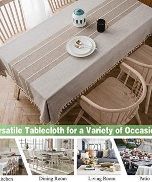 Joy Fabric Cotton Washable Tablecloth With Tassel Wrinkle Free Outdoor Indoor Dining Table Cover Brown 55 X 87 Inch 0 0 300x360