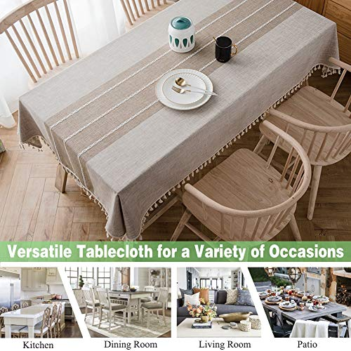 Joy Fabric Cotton Washable Tablecloth With Tassel Wrinkle Free Outdoor Indoor Dining Table Cover Brown 55 X 87 Inch 0 0