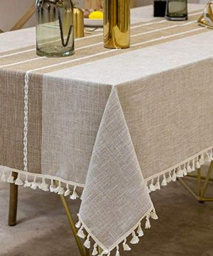 Joy Fabric Cotton Washable Tablecloth With Tassel Wrinkle Free Outdoor Indoor Dining Table Cover Brown 55 X 87 Inch 0 1 300x360
