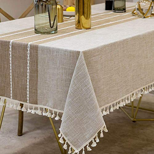 Joy Fabric Cotton Washable Tablecloth With Tassel Wrinkle Free Outdoor Indoor Dining Table Cover Brown 55 X 87 Inch 0 1