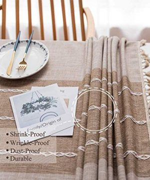 Joy Fabric Cotton Washable Tablecloth With Tassel Wrinkle Free Outdoor Indoor Dining Table Cover Brown 55 X 87 Inch 0 2 300x360