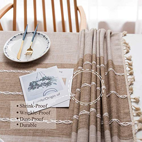 Joy Fabric Cotton Washable Tablecloth With Tassel Wrinkle Free Outdoor Indoor Dining Table Cover Brown 55 X 87 Inch 0 2