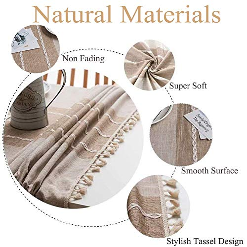 Joy Fabric Cotton Washable Tablecloth With Tassel Wrinkle Free Outdoor Indoor Dining Table Cover Brown 55 X 87 Inch 0 3
