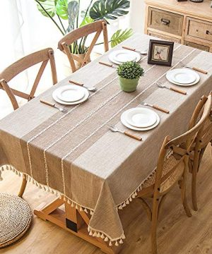 Joy Fabric Cotton Washable Tablecloth With Tassel Wrinkle Free Outdoor Indoor Dining Table Cover Brown 55 X 87 Inch 0 300x360