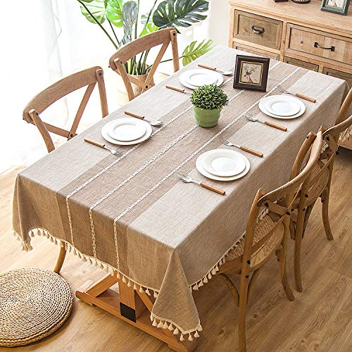 Joy Fabric Cotton Washable Tablecloth With Tassel Wrinkle Free Outdoor Indoor Dining Table Cover Brown 55 X 87 Inch 0