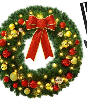 Juegoal 24 Inch Pre Lit Christmas Wreath With Metal Hanger Large Red Bow And Colored Balls Battery Operated With Timer Warm White 60 LEDs Lights Front Door Spruce Lighted Wreath X Max Decorations 0 300x360