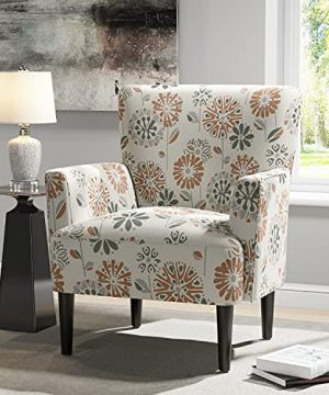 JustRoomy Living Room Armchair Comfortable Accent Chair Modern Fabric Single Sofa Lounge Bedroom Upholstered Chair With Comfy Seat Cushion Removable High Back Solid Wood Legs Cascade Mineral Color 0 0 300x360