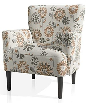 JustRoomy Living Room Armchair Comfortable Accent Chair Modern Fabric Single Sofa Lounge Bedroom Upholstered Chair With Comfy Seat Cushion Removable High Back Solid Wood Legs Cascade Mineral Color 0 300x360