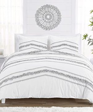 KB Me Bohemian Boho Chic White And Grey Macrame Tufted Tassel 3 Pc FullQueen Size Bed Bedding Set Duvet Comforter Cover Sham Textured Minimalist Cotton Fringe Farmhouse Indie Neutral Rustic 0 300x360