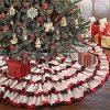 KERIQI 48 Inch Buffalo Plaid Christmas Tree Skirt Burlap Red And Black Check Ruffle Tree Skirt For Rustic Farmhouse Holiday Christmas Tree Decorations 0 100x100