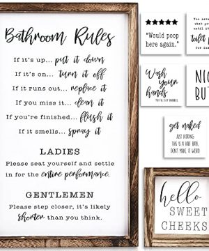 KIBAGA Farmhouse Bathroom Wall Decor Set Of 2 Funny Bathroom Signs With Rules And 8 Interchangeable Sayings Rustic Farmhouse Accessories Are Perfect To Beautify Your Restroom 0 300x360