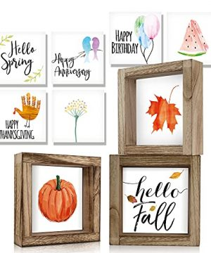 KIBAGA Farmhouse Home Decor Signs Set Of 3 Frames With 18 Interchangeable Sayings For Fall And Halloween Decorations 6x6 Centerpiece Frames For Seasonal Living Room Wall And Tiered Tray Decor 0 300x360