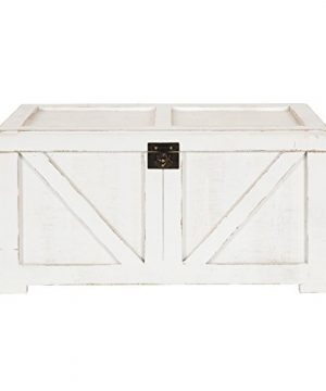 Kate And Laurel Cates Classic Farmhouse Small Wooden Storage Chest Trunk Antique White With Vintage Brass Hardware 0 0 300x360