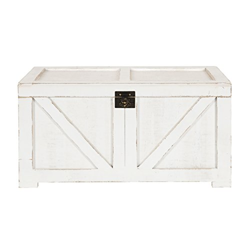 Kate And Laurel Cates Classic Farmhouse Small Wooden Storage Chest Trunk Antique White With Vintage Brass Hardware 0 0