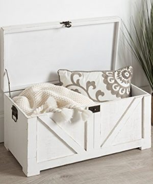 Kate And Laurel Cates Classic Farmhouse Small Wooden Storage Chest Trunk Antique White With Vintage Brass Hardware 0 2 300x360