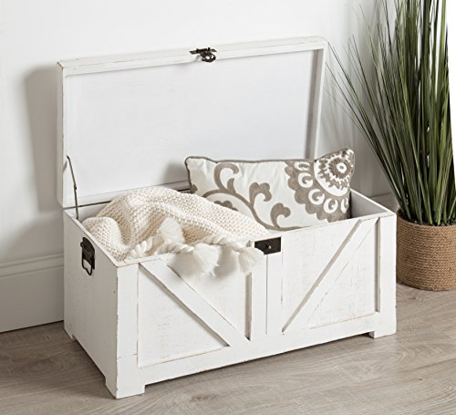 Kate And Laurel Cates Classic Farmhouse Small Wooden Storage Chest Trunk Antique White With Vintage Brass Hardware 0 2