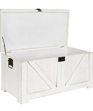 Kate And Laurel Cates Classic Farmhouse Small Wooden Storage Chest Trunk Antique White With Vintage Brass Hardware 0 3 300x360