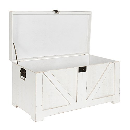 Kate And Laurel Cates Classic Farmhouse Small Wooden Storage Chest Trunk Antique White With Vintage Brass Hardware 0 3
