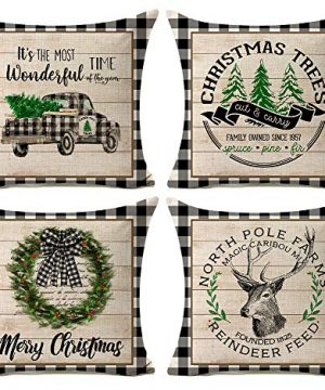Kithomer Set Of 4 Christmas Decorations Pillow Covers Christmas Buffalo Plaid Farmhouse Decor Throw Pillow Cases Cushion Cover 18 X 18 Inch Holiday Decoration 0 300x360