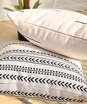 Kiuree Boho Throw Pillow Cover Set Of 6 Thick Linen Modern Mudcloth Farmhouse Decor Stripe Faux Leather Pillow Cover 18x18 Inch Decorative Pillow Covers For Couch Sofa 0 3 300x360