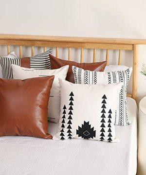 Kiuree Boho Throw Pillow Cover Set Of 6 Thick Linen Modern Mudcloth Farmhouse Decor Stripe Faux Leather Pillow Cover 18x18 Inch Decorative Pillow Covers For Couch Sofa 0 4 300x360