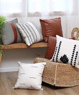 Kiuree Boho Throw Pillow Cover Set Of 6 Thick Linen Modern Mudcloth Farmhouse Decor Stripe Faux Leather Pillow Cover 18x18 Inch Decorative Pillow Covers For Couch Sofa 0 5 300x360