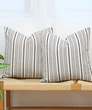 Kiuree Navy Blue And Cream Farmhouse Throw Pillow Covers 18 X 18 Modern Accent Square Decorative Pillow Case Set Of 2 Stripes Textured Linen Throw Pillow Case For Sofa Couch Chair BedroomNavy Blue 0 300x360