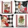 Kthomer Christmas Decorations Pillow Covers 18x18 Set Of 4 Buffalo Plaid Santa Snowman Deer Candy Cane Rustic Winter Holiday Xmas Throw Pillows Farmhouse Christmas Decor For Home Couch 18x18 0 100x100