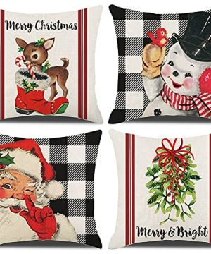 Kthomer Christmas Decorations Pillow Covers 18x18 Set Of 4 Buffalo Plaid Santa Snowman Deer Candy Cane Rustic Winter Holiday Xmas Throw Pillows Farmhouse Christmas Decor For Home Couch 18x18 0 300x360