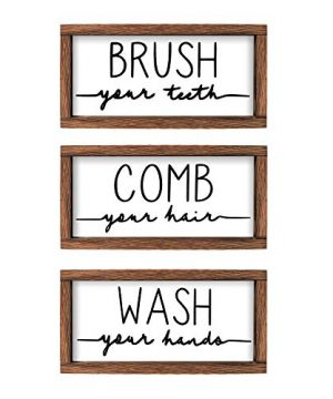 LIBWYS Bathroom Sign Plaque Set Of 3 Wash Your Hands Brush Your Teeth Comb Your Hair Decorative Rustic Wood Farmhouse Bathroom Wall Decor White 0 300x360