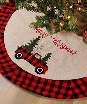 LOMOHOO 48 Inches Christmas Tree Skirt Burlap Tree Skirts With Red And Black Plaid Border Embroidered Rustic Truck And Tree Large Holiday Decorations Xmas Ornaments BurlapPlaid 48 Inches122cm 0 300x360