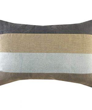 LR Home Rustic Farmhouse Striped Throw Pillow 16 X 24 GrayBlueTanBlack 0 300x360