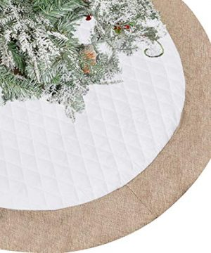 Lalent Christmas Tree Skirt 48 Inches Large White Quilted Luxury Tree Skirt Tree Holiday Decorations For Christmas Decorations Xmas Ornaments White 0 300x360