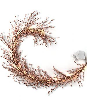 LampLust Pip Berry Garland With Lights 55 Foot Blush Pink Faux Berries On Rustic Grapevine Base 100 White LED Fairy Lights Battery Operated 6 Hour Timer FallChristmas Home Decor 0 300x360