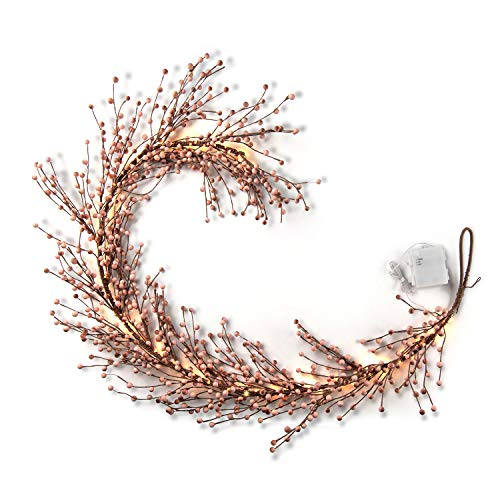 LampLust Pip Berry Garland With Lights 55 Foot Blush Pink Faux Berries On Rustic Grapevine Base 100 White LED Fairy Lights Battery Operated 6 Hour Timer FallChristmas Home Decor 0