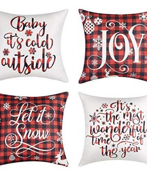 Lanpn Christmas 24x24 Throw Pillow Covers Decorative Outdoor Farmhouse Merry Christmas Xmas Lumbar Pillow Shams Cases Slipcovers Cover Set Of 4 Couch Sofa 0 300x360