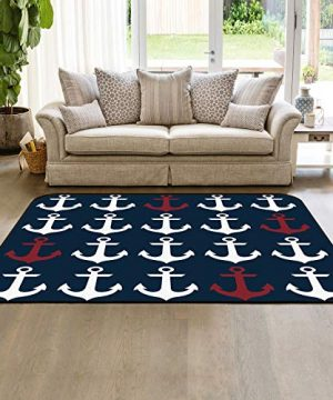 Large Area Rugs 3 X 5 Modern Throw Carpet Floor Cover Nursery Rugs For ChildrenKids Nautical Anchor IndoorOutdoor Rugs For Living RoomBedroom Dark Blue 0 300x360