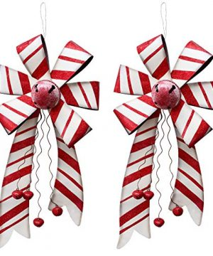 Large Christmas Wreath Bow Hanging Ornament Set Of 2 26 By 12 Rustic Metal Red Bow With Christmas Jingle Bell Ornament Decorative Garland For Xmas Party Door Home Decoration Wall Art Decor 0 300x360