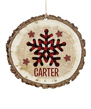 Lets Make Memories Perfectly Plaid Rustic Wooden Ornaments Personalized With Name For Christmas Holidays Season Snowflakes 0 300x360