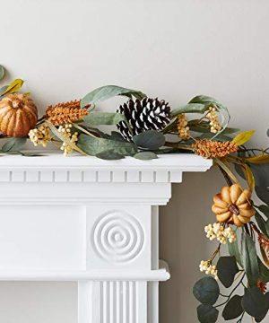 Lights4fun Inc 6ft Thanksgiving Eucalyptus Pumpkin Pinecone Fall Garland Decoration 0 300x360