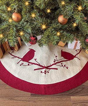LimBridge Christmas Tree Skirt 48 Inches Knitted Thick Cardinals Birds Rustic Xmas Holiday Decoration Cream And Burgundy 0 300x360