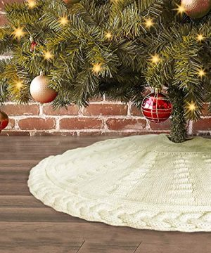 LimBridge Knitted Christmas Tree Skirt 36 Inches Cable Knit Edge Rustic Heavy Yarn Tree Skirts For Xmas Decor Holiday Decoration Cream White 0 300x360
