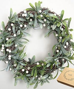 Luell Handmade Artificial Wreath With Green Leaves And White Beans 14 Inches For Front Door Home Decor Year Round 0 300x360
