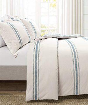 Lush Decor Farmhouse Stripe 3 Piece Duvet Cover Set FullQueen Blue 0 300x360
