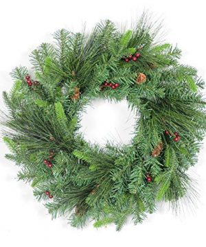 MAKEATREE 23 Inch Artificial Christmas Wreath Cordless Artificial Spruce Christmas Wreath Flocked With Mixed Decorations Pine Cones Red Berries Green 0 300x360