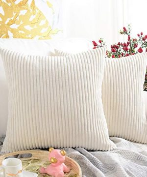 MERNETTE Pack Of 2 Corduroy Soft Decorative Square Throw Pillow Cover Cushion Covers Pillowcase Home Decor Decorations For Sofa Couch Bed Chair 18x18 Inch45x45 Cm Striped Cream 0 300x360