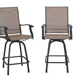 MFSTUDIO Outdoor Swivel Bar Stools Bar Height Patio Bistro Chairs With All Weather Steel Frame Set Of 2 0 300x333