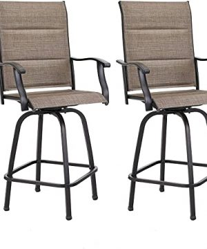 MFSTUDIO Patio Bar Set Of 2 Bar Stool Outdoor Height Swivel Chairs All Weather Patio Furniture With Quick Dry Foam Padded 0 300x360