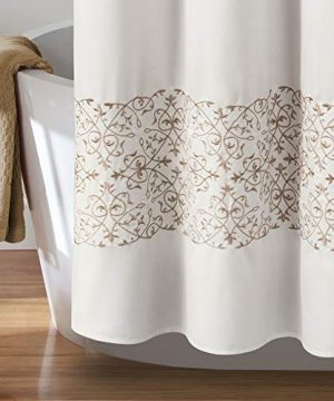 MISC Beige Embroider Shower Curtain Horizontal Floral Scroll Vine Embroidered Pattern Farmhouse Feminine Bathroom Decor Polyester 72x72 0 1 300x360