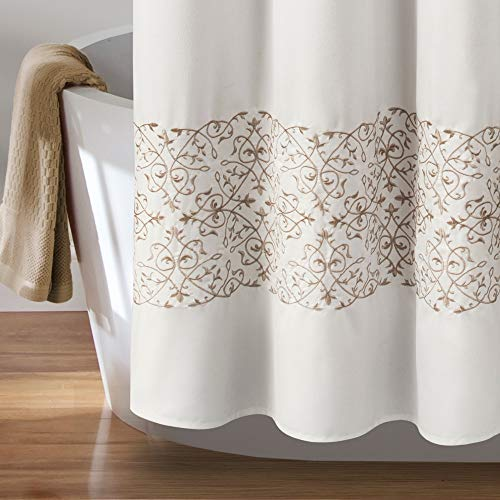 MISC Beige Embroider Shower Curtain Horizontal Floral Scroll Vine Embroidered Pattern Farmhouse Feminine Bathroom Decor Polyester 72x72 0 1